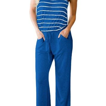Casual Blue Striped Spaghetti Tank Drawstring Jumpsuits