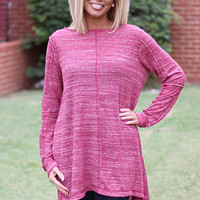 Casual Confidence Lightweight Tunic ~ Burgundy
