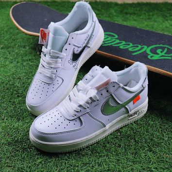 LMFON Best Online Sale OFF WHITE x Nike Air Force 1 Low White Silver Sport Shoes Sneaker Design By Virgil Abloh