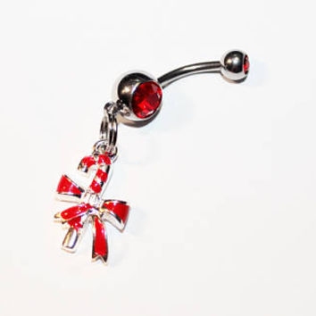 Candy Cane Belly Button Ring, Christmas, Navel Rings, Belly Piercing, Holiday Gift, Stocking Stuffer