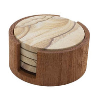 Thirstystone Circular Oak Coaster Holder