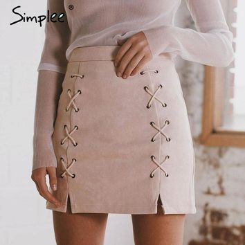 Lace Up Leather Suede Skirt