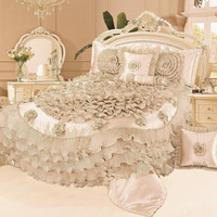 Tache 6 Piece Luxury Floral Faux Satin Frosted Field in Beige Comforter Set