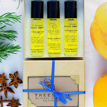 Bridal Trio Roll-on Aromatherapy Oil - Wedding Survival Kit - Natural Remedies - Holistic Health - Gift Set - Maid of Honor - Bridesmaid