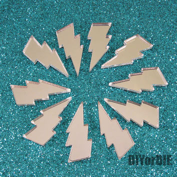 10 Lightning bolt laser cut acrylic cabochons charms (mirror silver)