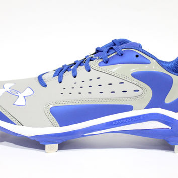 Under Armour Men's Yard Low ST Grey/Royal Blue Baseball Metal Cleats