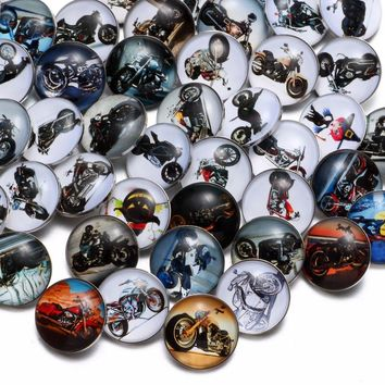 50pcs/Lot Mixed Harley Moto Pattern Glass Charms 18mm Snap Button Jewelry For 18mm Snaps Bracelet Snap Jewelry KZHM046