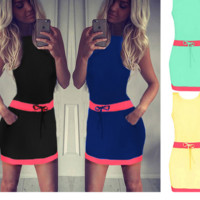 New summer sexy Women contrast color sleeveless mini dress-0531