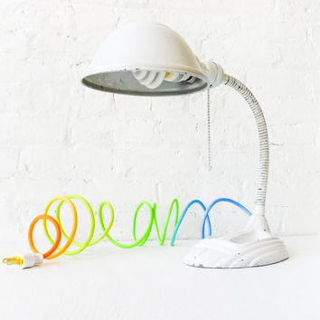 Egg White Gooseneck Cast Iron Desk Lamp - Vintage Industrial Lighting - Spring Citrus Ombre Color Cord - Cool Blue Aqua Sunshine Sea