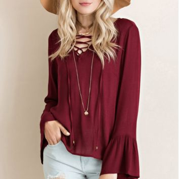 Lace Up Bell Sleeve Blouse - Burgundy
