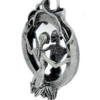 Skeleton Lady of Death Necklace Soul Reaper Looking in Mirror Pendant