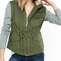 Olive Twill Fleece Sleeve Hooded Jacket from EXPRESS
