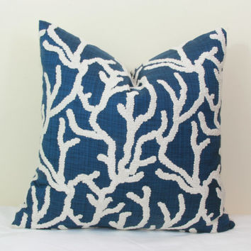 "Navy & cream coral design embellished decorative throw pillow cover. 18"" x 18"", 20"" x 20"", 22"" x 22"", 24"" x 24"", 26"" x 26"""