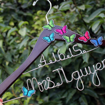 butterfly Hanger Wedding Hanger Custom Date bridal hanger, bridal gift, Personalized Bridal Gift, brides hanger,name hanger,wedding hanger.