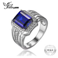 Jewelrypalace Luxury 4.6ct Created Blue Sapphire Wedding and Engagement Ring For Men Genuine 925 Sterling Sliver Fine Jewelry
