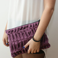 Purple pleated clutch