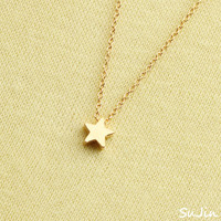Shiny Tiny Star Pendant, Gold Plated, Necklace