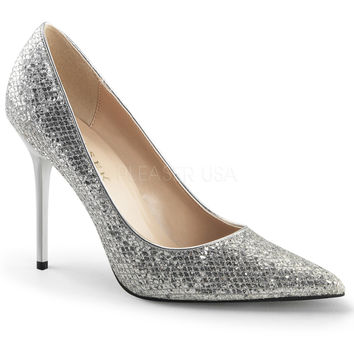 Pleaser USA Silver Glittery Lame Fabric Classique Slip-On Pumps