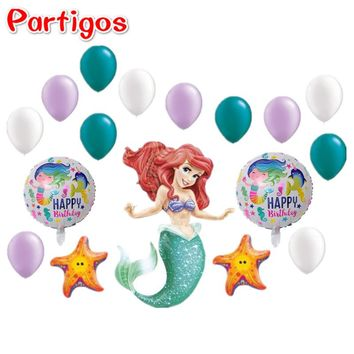 17pcs/set 3D Little Mermaid Princess Balloons starfish Mermaid Round balloon Baby Birthday Wedding Ocean Party Ariel Latex Decor