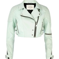 Light green croc panel cropped biker jacket - biker jackets - coats / jackets - women