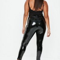 Missguided - Plus Size Black Vinyl Leggings