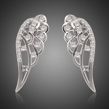 Dorado new brand design charming shining crystal angel wing stud earring channel earrings for women
