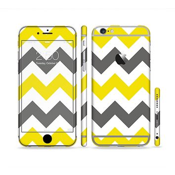 The Gray & Yellow Chevron Pattern Sectioned Skin Series for the Apple iPhone 6