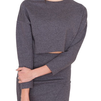 Profile Crop Sweatshirt - Gray
