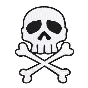 Kreepsville Skull & Crossbone Black on White Patch Pirate Craft Iron-On Applique