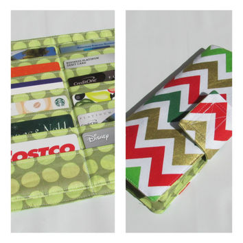 Credit Card Organizer Wallet, Gift Card Holder, women's wallet 38 Credit Card Organizer Chevron Holiday Metallic Ready to Ship