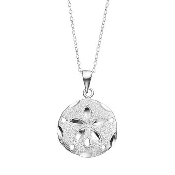 Journee Collection Sterling Silver Sand Dollar Pendant Necklace (Sand/Silver)