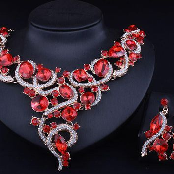 Unique Vine shape  Resin Crystal Necklace Earrings Set African Bridal Jewelry sets