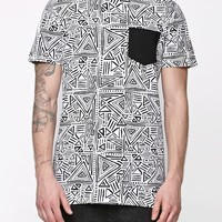 Modern Amusement Linear Pieced Pocket Crew T-Shirt - Mens Tee - Black
