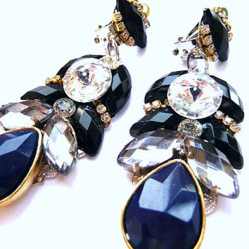 Black earrings, Statement earrings, Multicolor earrings, Boho earrings, high fashion earrings, black clear earrings, black blue earrings,