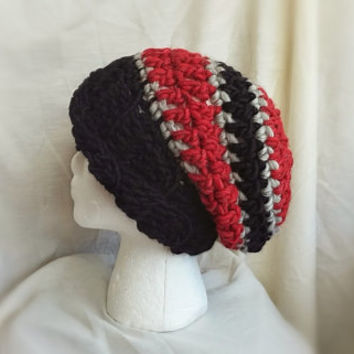 Chunky crochet slouch hat men's roll brimmed beanie red black grey wool cloche ladies teens