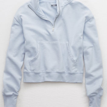 Aerie Quarter Zip Beach Fleece, Creme Blue