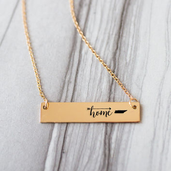 Home is Tennessee Gold / Silver Bar Necklace