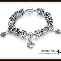 Antique Silver Charm Bracelet & Bangle 925 Sterling Silver with Heart Pendant