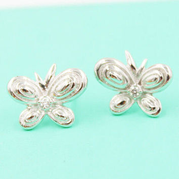 925 Silver Butterfly Diamonds Earrings [7495349383]