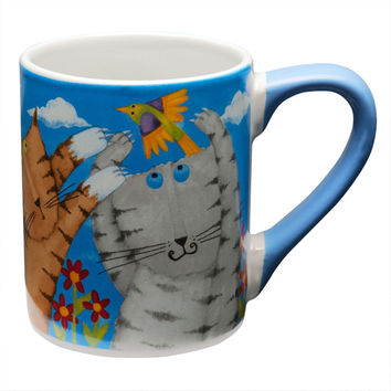 Cats Chasing Birds Coffee Mug