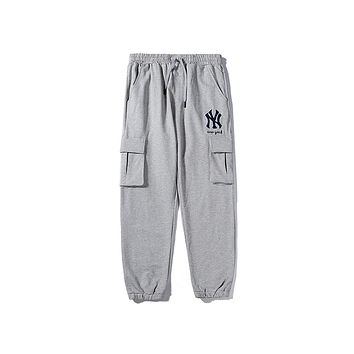 NY hot fashion men's and women's pants casual embroidery LOGO cargo pants Gray