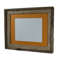11x14 reclaimed wood picture frame with yellow mat for 8x10 pictures or prints