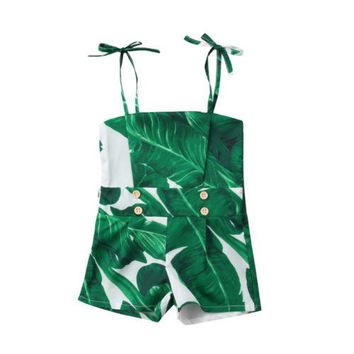 Newborn Baby Girl Green Sleeveless Green Leaves Sling Off Shoulder Romper Jumpsuit Outfits Clothes