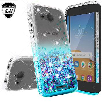 Alcatel Tetra Case Liquid Glitter Phone Case Waterfall Floating Quicksand Bling Sparkle Cute Protective Girls Women Cover for Tetra - Teal