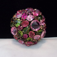 Schreiner Domed Pink, Olivine Green & Root-beer Brown Glass Rhinestone Gold Plate Vintage Brooch Pin