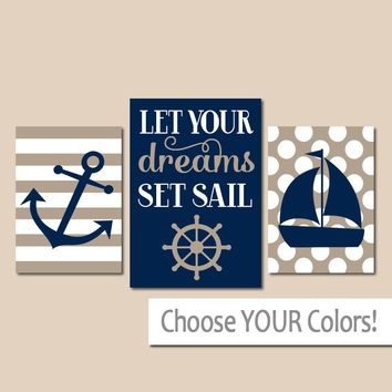 NAUTICAL Nursery Wall Art, CANVAS or Prints, Baby Boy Nautical Decor, Boy Anchor Sailboat Wheel, Dreams Set Sail, Set of 3 Wall Decor