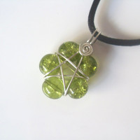 Handmade Olive Green Crackle Glass Pentacle Star Flower Silver Plated Wire Wrap Pendant On Black Cord