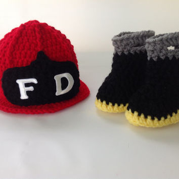 Baby Firefighter Fireman Hat & Boots - Crochet Fire Helmet and Boots Set - Photography Prop - Newborn - 0-3