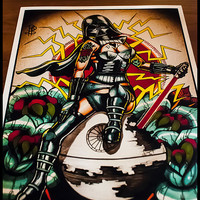 Old School Darth Vader Pin up Tattoo Flash Print
