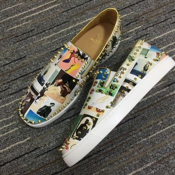 Christian Louboutin Cl Pik Boat Multi/gold Patent Collage 3190428m023 Sneakers - Best Online Sale